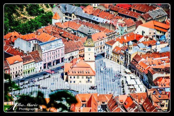 aerial view of Brasov from Mt Tampa, Romania